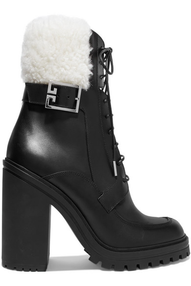 Givenchy Boots Aviator shearling-trimmed leather ankle boots