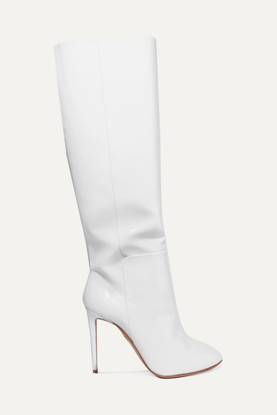 Brera Patent-Leather Knee Boots in White