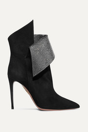 Night Fever crystal-embellished suede ankle boots