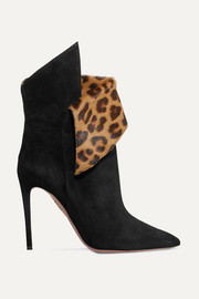 Night Fever 105 calf hair-trimmed suede ankle boots