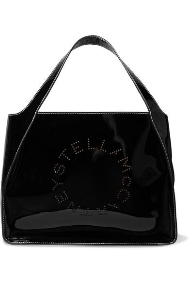 Stella McCartney   Sac à main en cuir synthétique verni à perforations    NET-A-PORTER.COM d88295fcafe