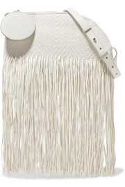 Eartha medium fringed woven leather shoulder bag