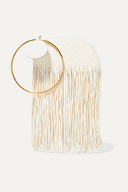 Eartha fringed woven leather clutch