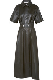 Victoria Beckham Belted leather midi dress