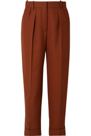Cropped pleated grain de poudre wool tapered pants