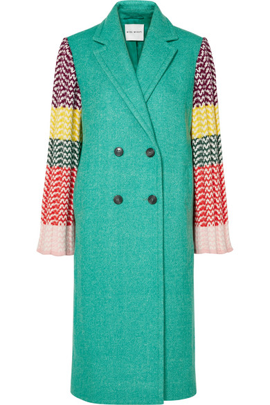 MIRA MIKATI Appliquéd Wool-Blend And Ribbed Crochet-Knit Coat in Green