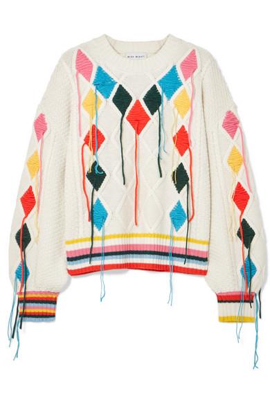 Mira Mikati - Embroidered Cable-knit Sweater - Cream