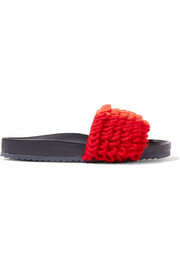Color-block loop-knit and leather slides