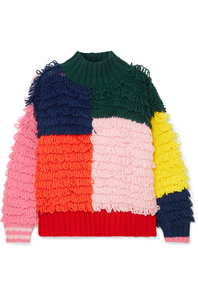 MIRA MIKATI Color-Block Loop-Knit Turtleneck Sweater in Pink
