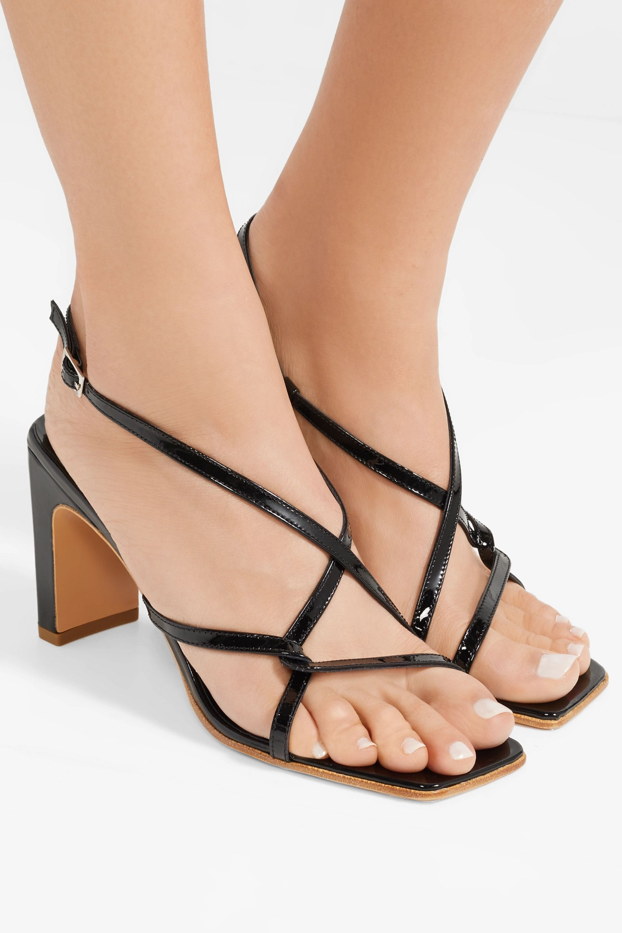 BY FAR Carrie patent-leather slingback sandals