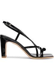Carrie patent-leather slingback sandals