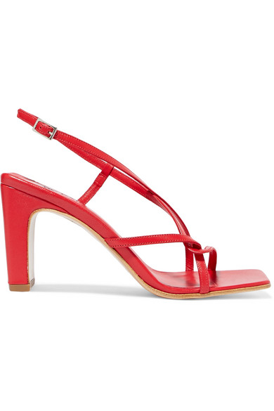 BY FAR Carrie Leather Slingback Sandals in Claret