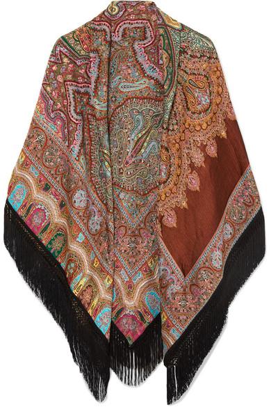 ETRO Fringed paisley wool-blend jacquard wrap
