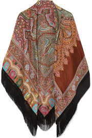 Etro Fringed paisley wool-blend jacquard wrap