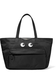 Eyes leather-appliquéd shell tote