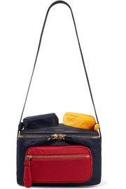 Chubby color-block leather-trimmed shell shoulder bag
