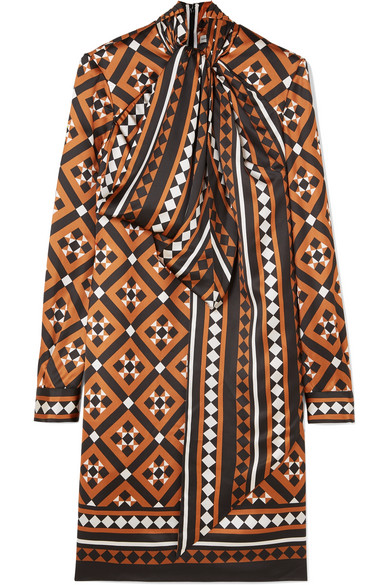 Lyonel Pussy-Bow Printed Satin Dress in Camel
