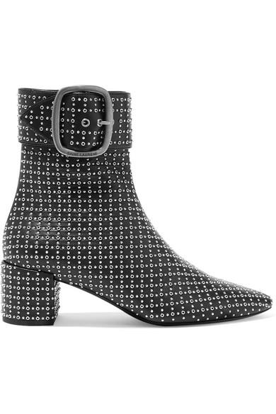 Joplin Studded Leather Ankle Boots - Black Size 8