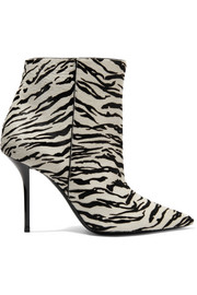 Pierre zebra-print calf hair ankle boots