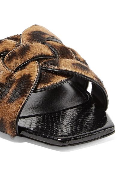 c996dca8282d Saint Laurent. Nu Pieds woven leopard-print calf hair slides.  895.  Seasonal pick. Zoom In