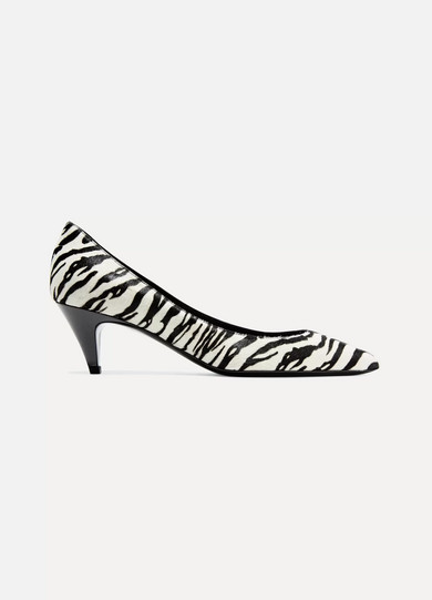 Saint Laurent - Charlotte Zebra-print Calf Hair Pumps - Zebra print