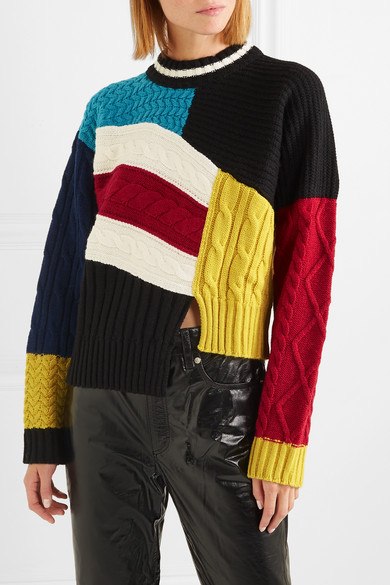 Msgm Knits Maglia asymmetric color-block cable-knit sweater
