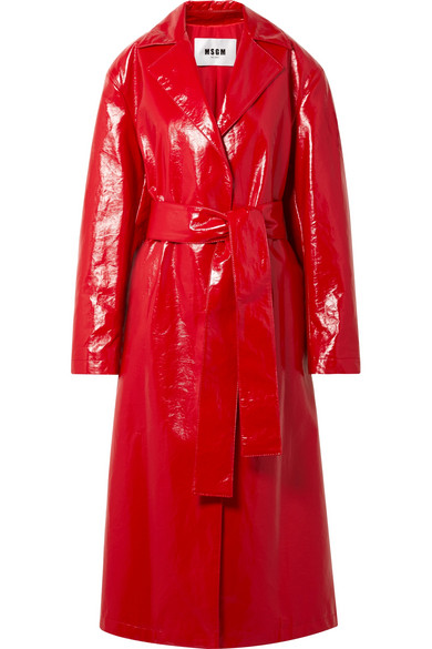 Faux Glossed-Leather Trench Coat in Crimson