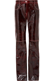 MSGM Coated wool-blend straight-leg pants