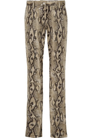 MSGM Snake-effect faux leather straight-leg pants
