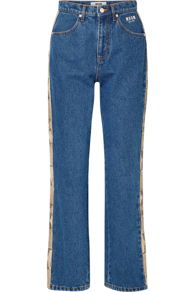 Snake-Effect Faux Leather-Trimmed High-Rise Straight-Leg Jeans in Mid Denim