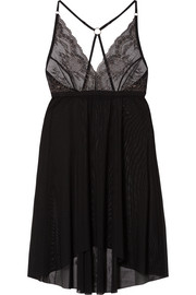 Mesh and metallic lace chemise