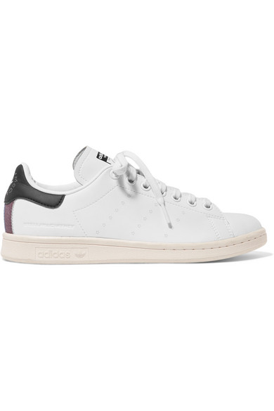 100% authentic 8cd3b aa2ef + adidas Stan Smith grosgrain-trimmed faux leather sneakers