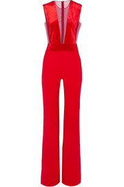 Gwyneth velvet and tulle-paneled crepe jumpsuit