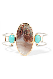 14-karat gold, sterling silver, turquoise and agate cuff