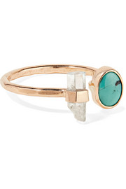Melissa Joy Manning 14-karat gold, turquoise and aquamarine ring
