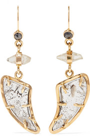 Melissa Joy Manning 18-karat gold, diamond and sapphire earrings