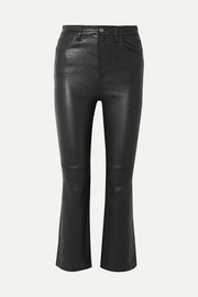 The Kick cropped leather flared pants