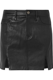 Current/Elliott Textured-leather mini skirt