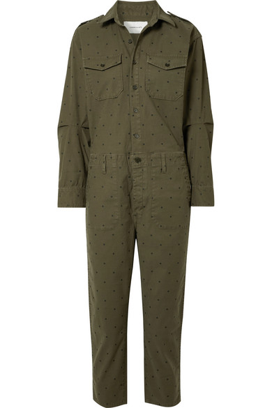 THE CREW COVERALL POLKA-DOT COTTON-BLEND JUMPSUIT