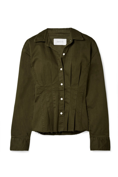 Current Elliott The Tella Pleated Cotton-blend Twill Jacket In Army Green