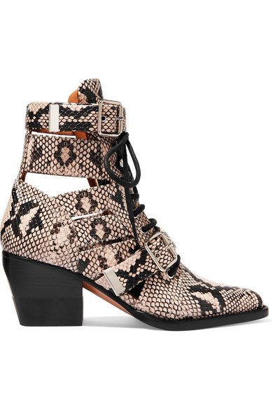 sleek buy online high quality Chloé   Rylee cutout snake-effect leather ankle boots   NET-A ...