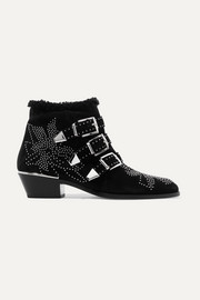 Chloé Susanna shearling-lined studded suede ankle boots