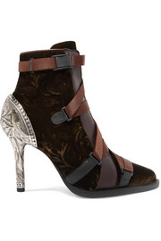 Chloé Tracy rubber and canvas-trimmed leather and velvet ankle boots
