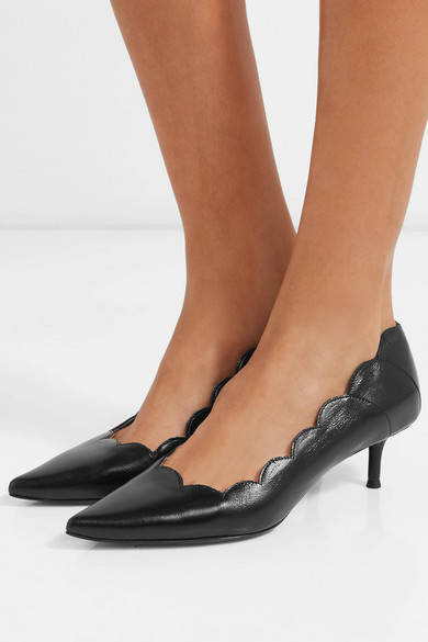 0e95d078a Chloé | Pointy Lauren scalloped leather pumps | NET-A-PORTER.COM