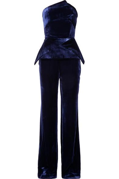 Strapless Peplum Straight-Leg Velvet Jumpsuit in Navy