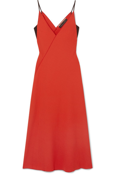 Roland Mouret - Hooper Wrap-effect Wool-crepe Midi Dress - Red