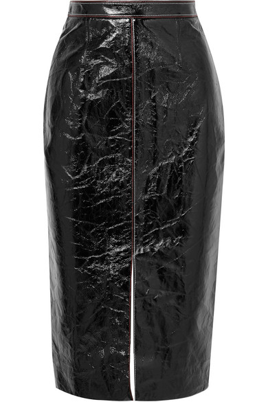 ROLAND MOURET Birch Crinkled Patent-Leather And Jersey Skirt in Black