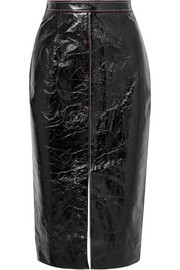 Birch crinkled patent-leather and jersey skirt