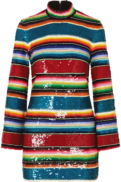 Ashish - Striped Sequined Cotton Mini Dress - Crimson