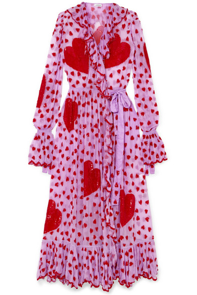 ASHISH Ruffled embellished chiffon wrap maxi dress